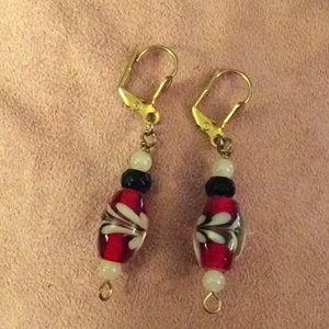Red black white gold glass bead earrings